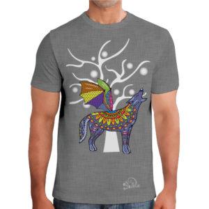camiseta alebrije coyote murcielago hombre gris modelo frente