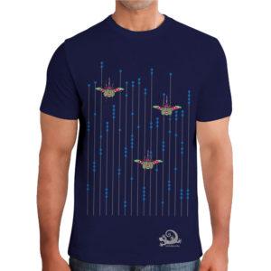 camiseta alebrijes escarabajos hombre azul modelo frente