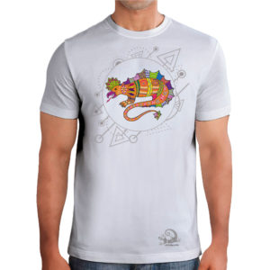 camiseta alebrije lagarto hombre blanco modelo frente