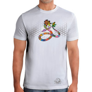 camiseta alebrije serpiente hombre blanco modelo frente