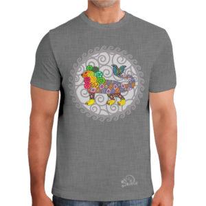 camiseta alebrije leon pez hombre gris modelo frente