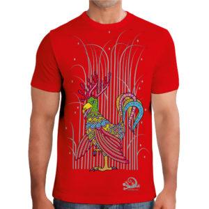 camiseta alebrije gallo alce hombre rojo modelo frente