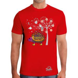camiseta alebrije Puercoespin hombre rojo modelo frente