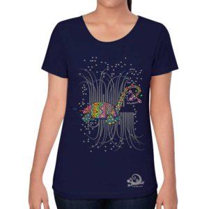 camiseta alebrije jirafa tortuga mujer azul modelo frente
