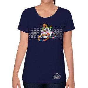 camiseta alebrije serpiente mujer azul modelo frente