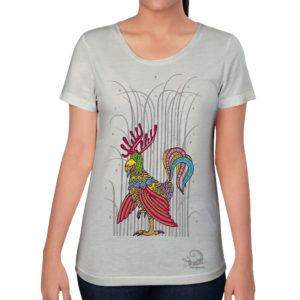 camiseta alebrije gallo alce mujer blanco modelo frente