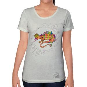 camiseta alebrije lagarto mujer blanco modelo frente