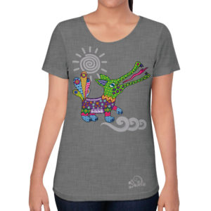 camiseta alebrije cocodrilo mujer gris modelo frente