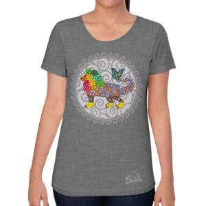 camiseta alebrije leon pez mujer gris modelo frente