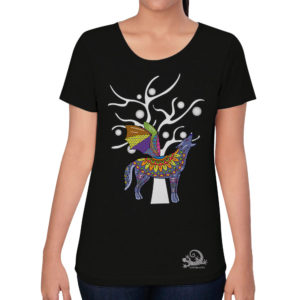 camiseta alebrije coyote murcielago mujer negro modelo frente