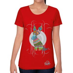 camiseta alebrije conejo mujer rojo modelo frente