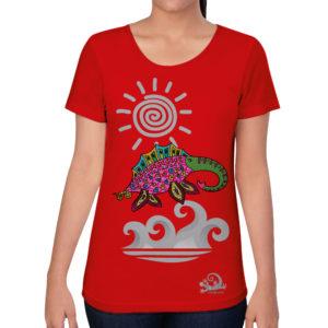 camiseta alebrije elefante marino mujer rojo modelo frente