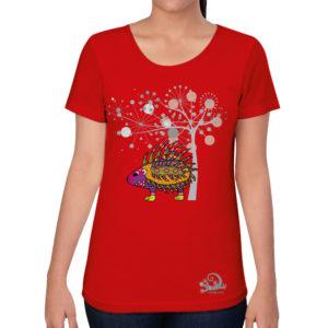 camiseta alebrije Puercoespin mujer rojo modelo frente